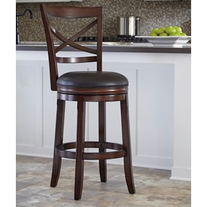 Bar Height X-Back Tall Upholstered Swivel Barstool