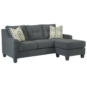 Contemporary Sofa Chaise with 2 Decorative Pillows and Customizable Chaise