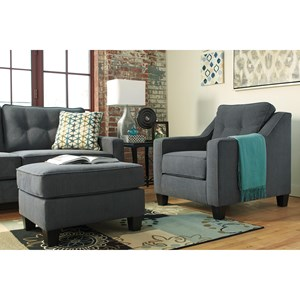 Contemporary Chair and Ottoman with Foam Cushions