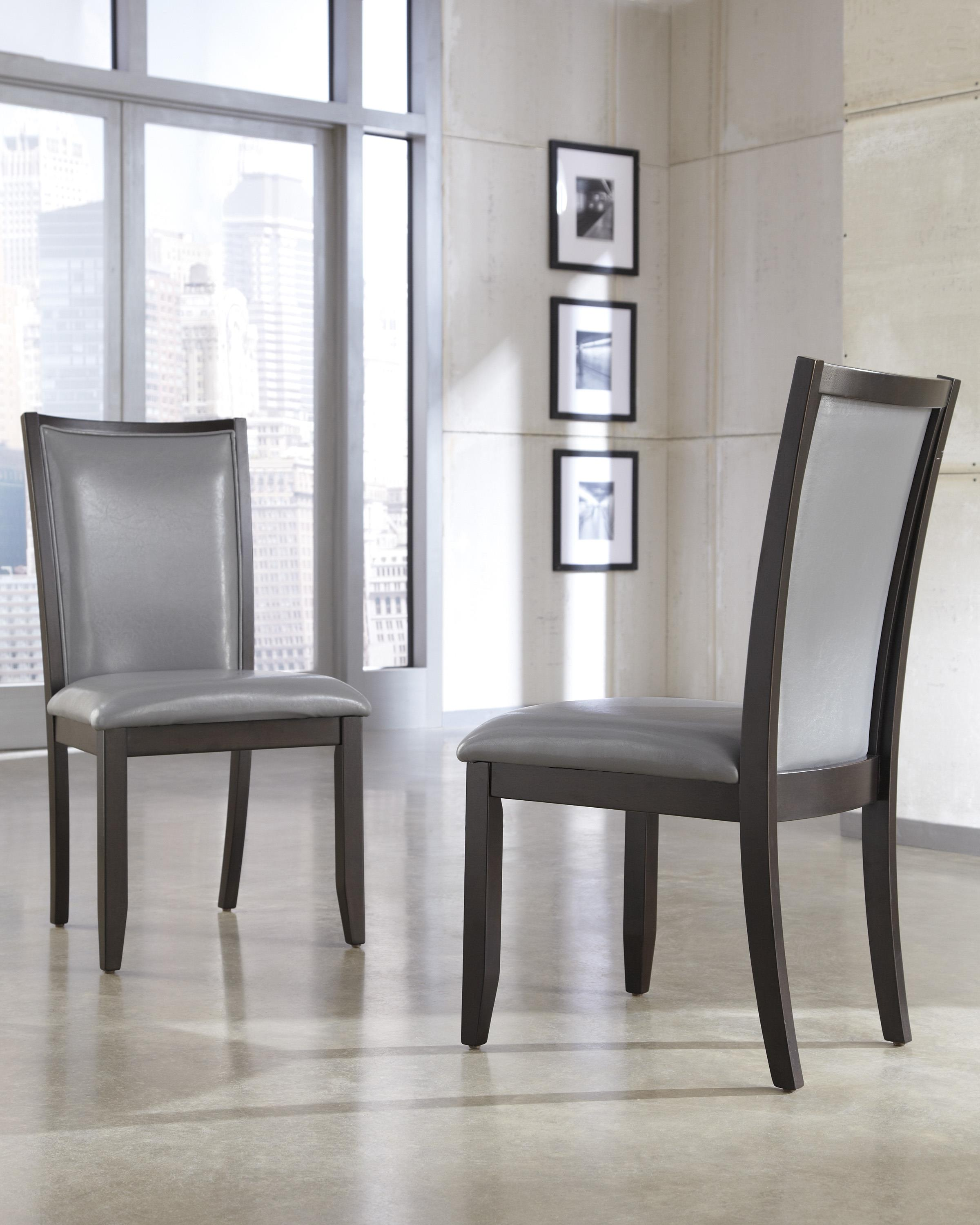 Gray Faux Leather Dining Upholstered Side Chair by Ashley – Gray Leather Dining Room Chairs