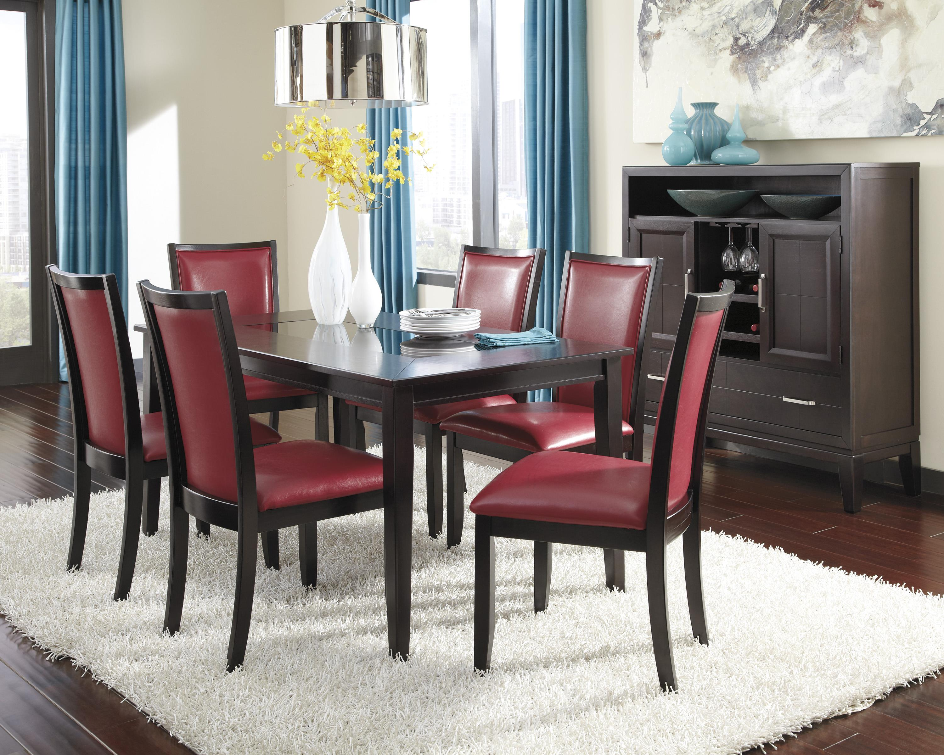 7 Piece Rectangular Dining Table Set with Red Chairs by Ashley