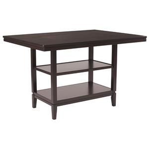 Rectangular Dining Room Counter Table with Inset Black Glass Top