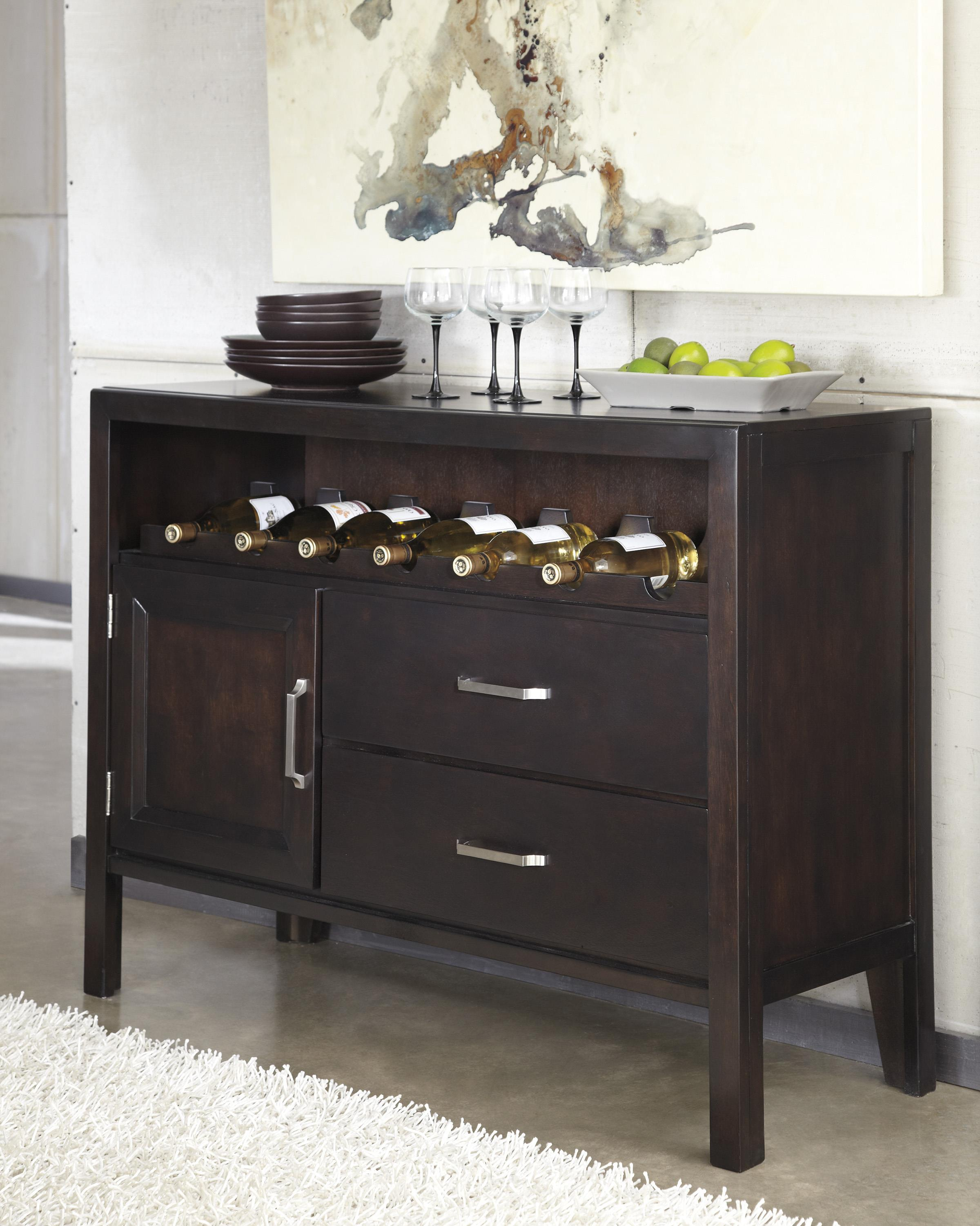 contemporary dining room server with wine rack by ashley furniture - Dining Room Server Furniture