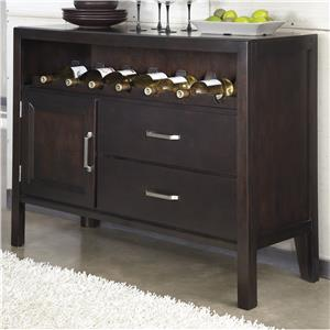 Contemporary Dining Room Server with Wine Rack