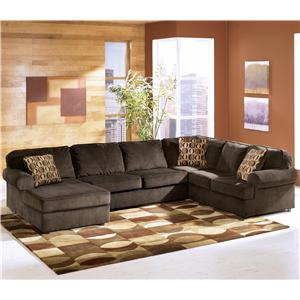 Signature Design by Ashley Furniture Vista - Chocolate 3-Piece Sectional with Left Chaise