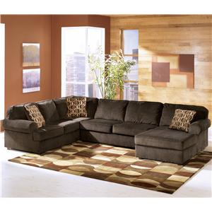 Ashley Furniture Vista - Chocolate 3-Piece Sectional with Right Chaise