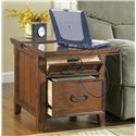Signature Design by Ashley Furniture Woodboro Rectangular End Table with Work Center - Sliding Top, Power Drawer and File Cabinet of Work Station