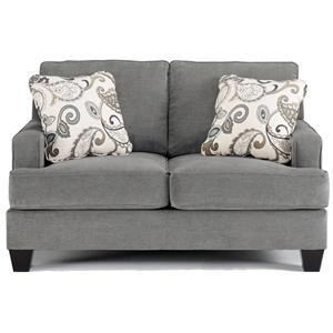Ashley Furniture Yvette Steel Stationary Sofa W Loose Seat Cushions John V Schultz