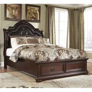 Millennium by Ashley Caprivi Queen Storage Bed with Tufted Headboard