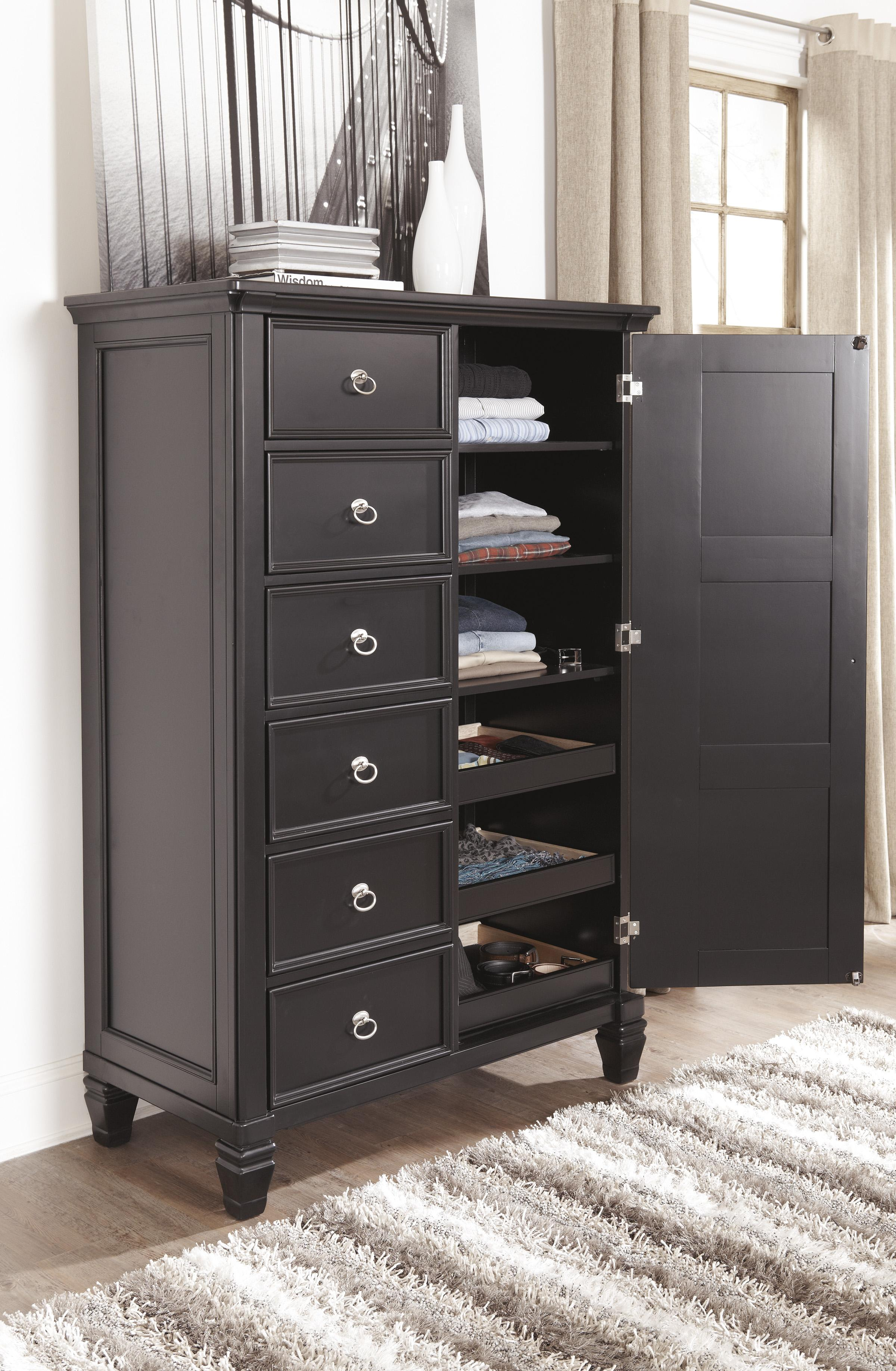 Transitional Door Chest with Shelves and Interior Drawers by