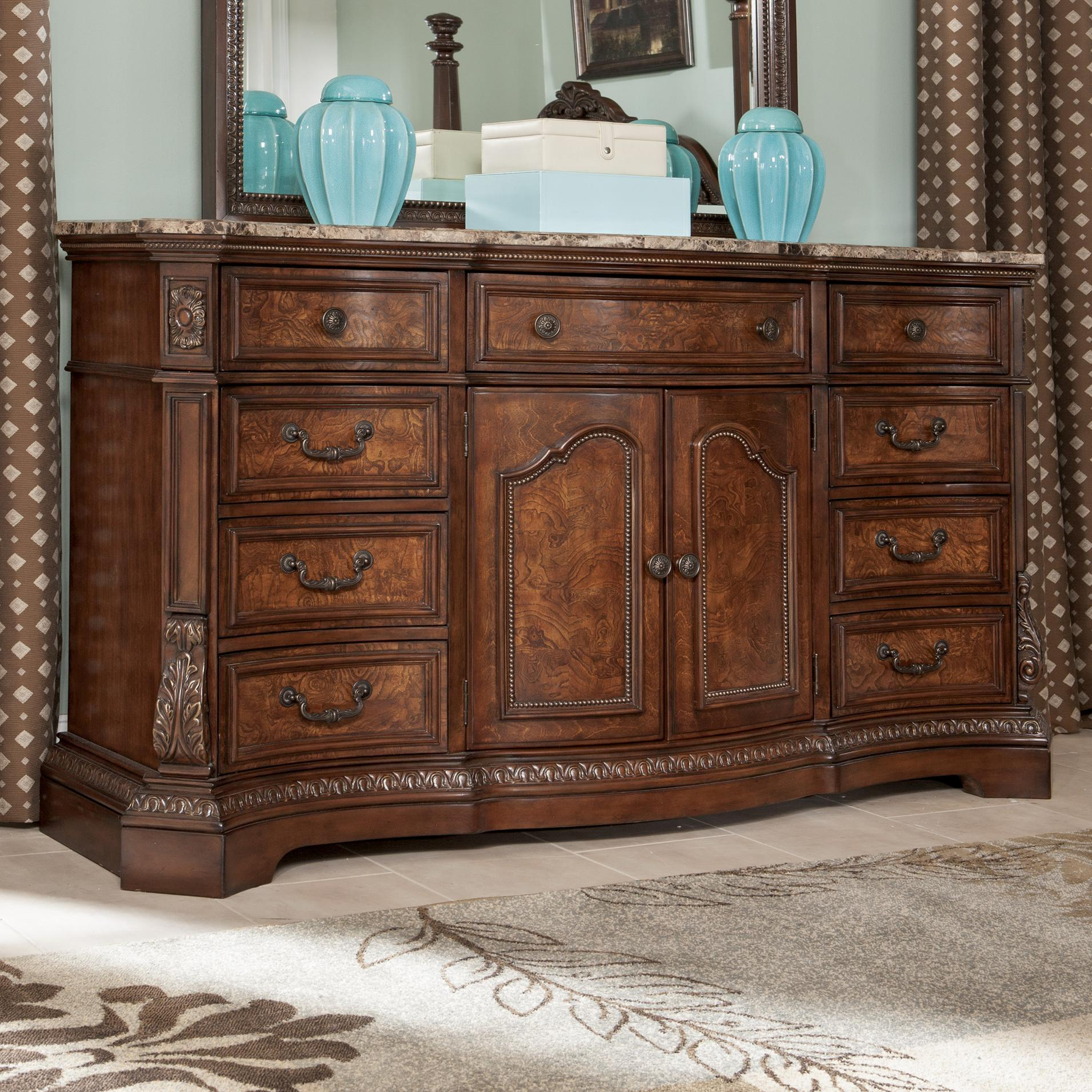 Serpentine Shape Dresser with Natural Marble Parquetry Top by ...