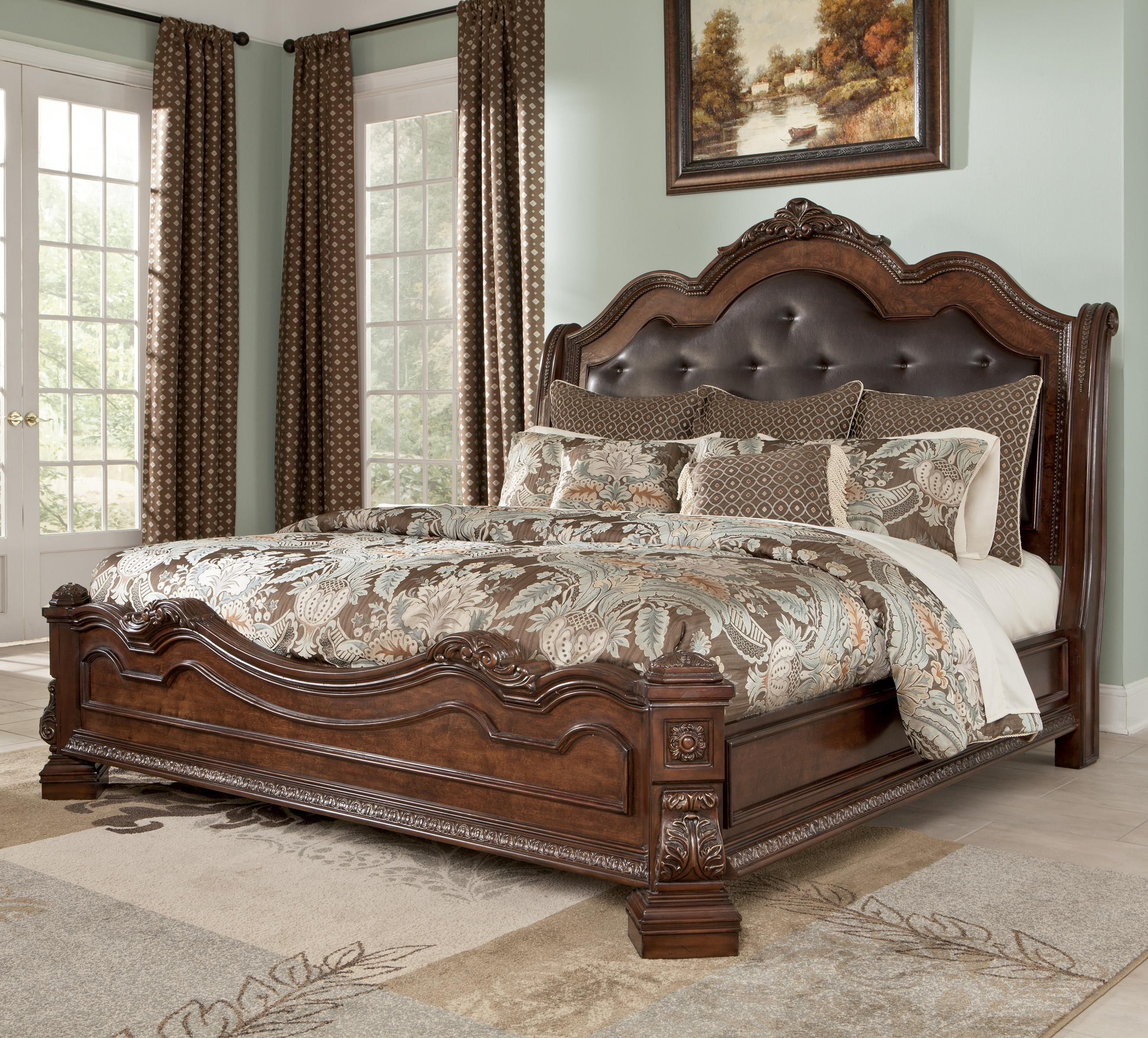 traditional queen bed with sleigh headboard by millennium   wolf