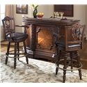 Millennium North Shore Traditional Demilune Bar with Marble Top - Shown with Two 30 inch Swivel Bar Stools