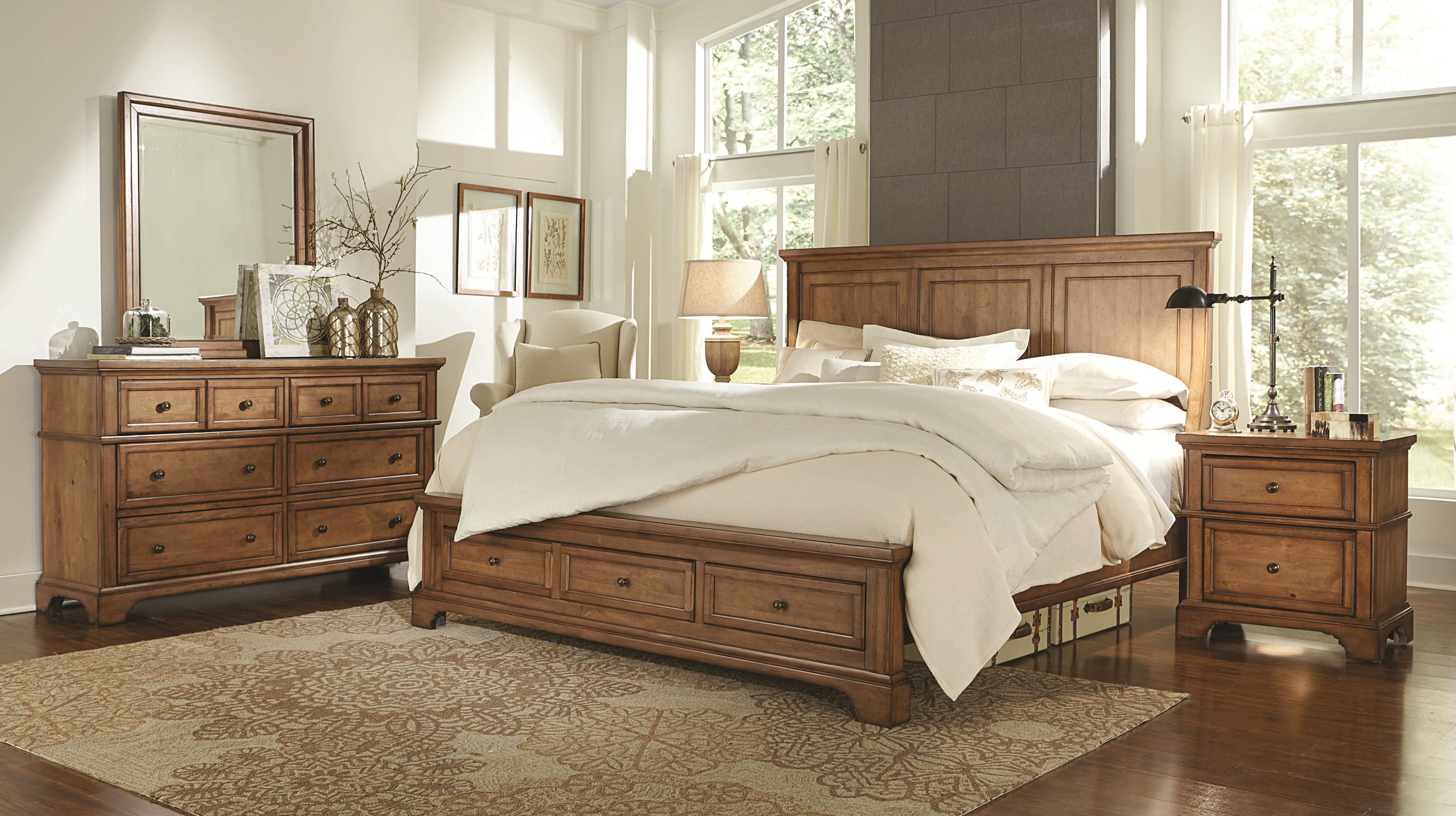 King Panel Storage Bed With 2 Footboard Drawers By