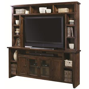 Entertainment Wall Unit with 4 Doors and Hutch Shelving