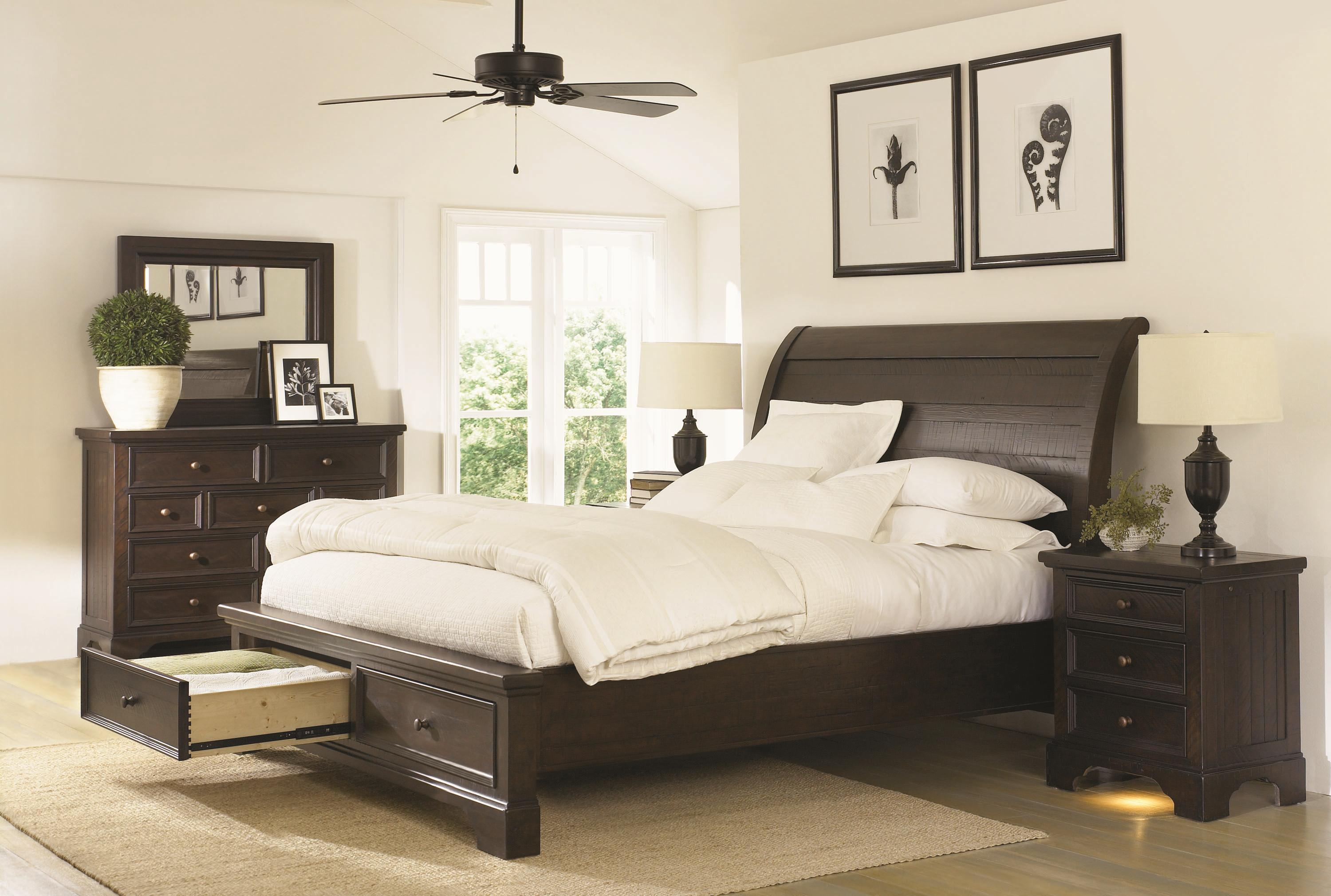 King Sleigh Bed With Under Bed Storage Drawers By Aspenhome Wolf