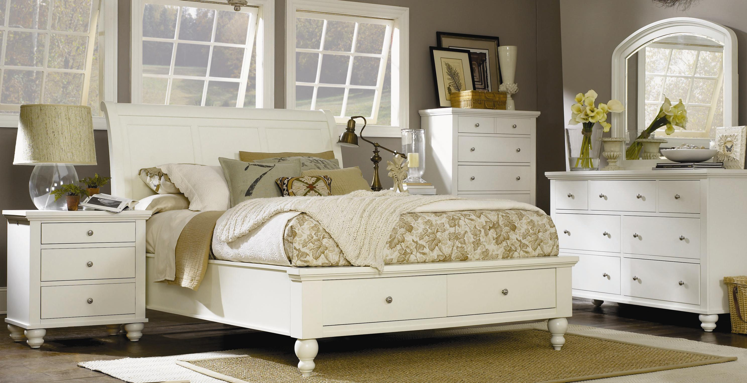 King-Size Bed with Sleigh Headboard & Drawer Storage Footboard by ...