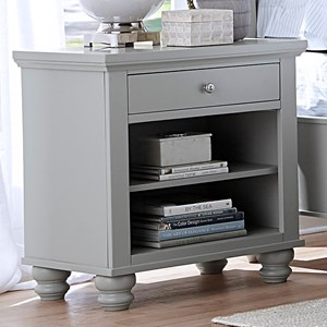 One Drawer Night Stand with Two Shelves