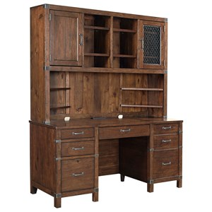 Credenza and Hutch with USB Port and Outlets