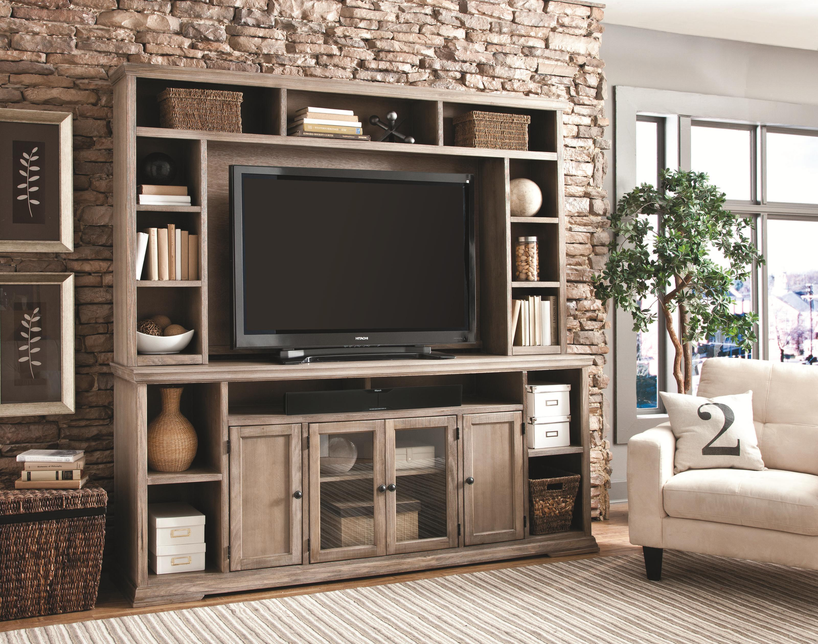 84 inch entertainment console and hutch by aspenhome wolf and