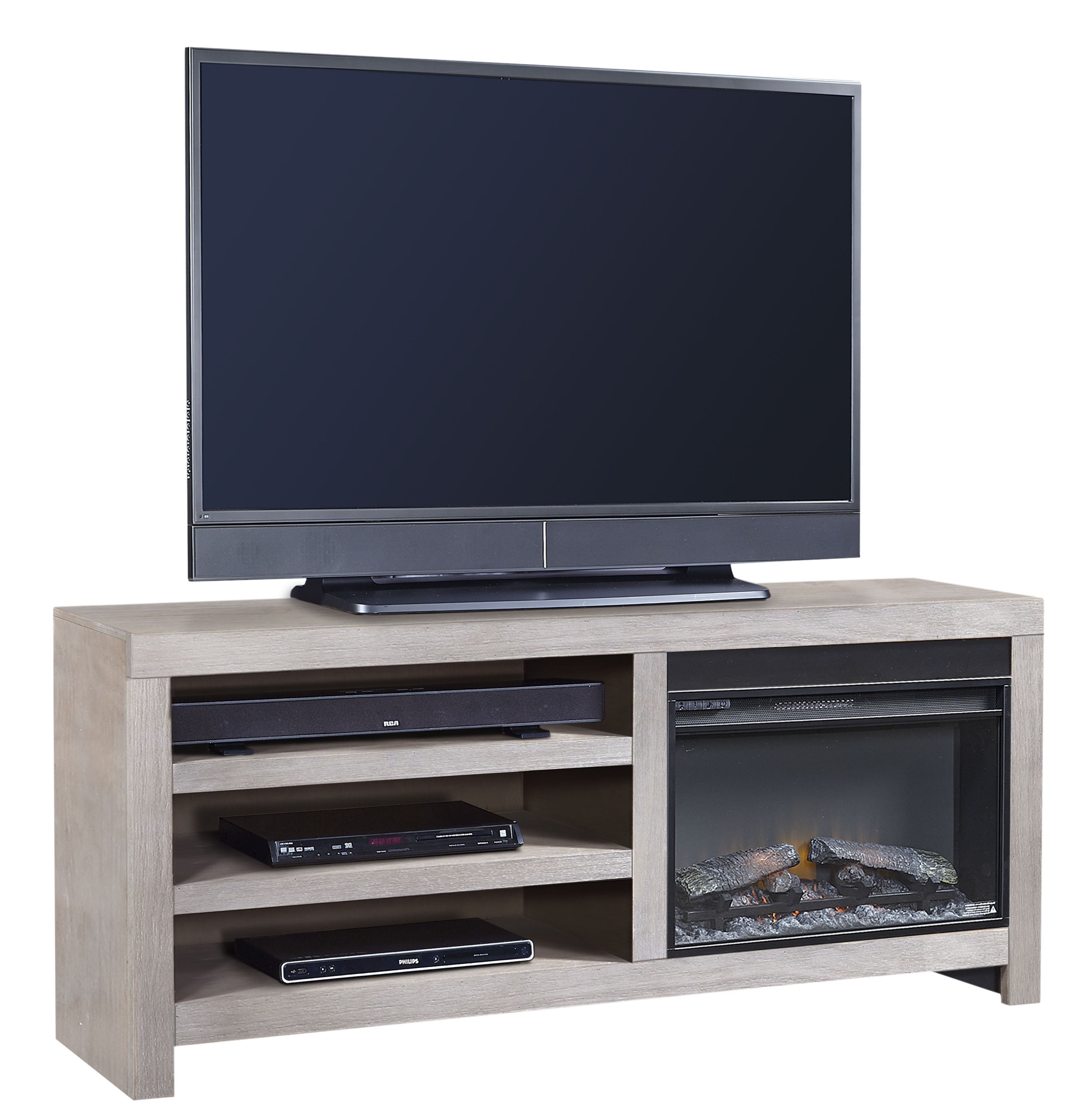 65 Inch Fireplace Console with 2 Shelves
