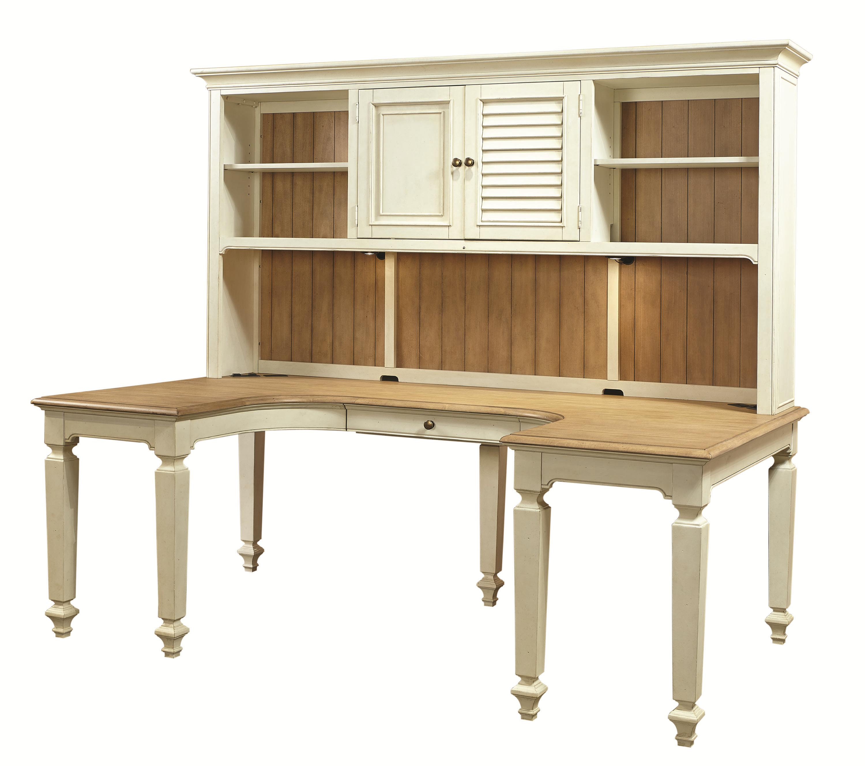 ushaped desk and hutch with 3 shelves and reversible door panels