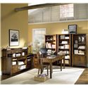 "Aspenhome Cross Country Open Bookcase with Six Shelves - Shown as Bookcase Wall with ""Sweet Spot U"" Desk and Hutch"