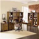 Aspenhome Cross Country Open Bookcase with Six Shelves - Shown as Bookcase Wall with L Desk and Hutch, and Two Drawer Modular File