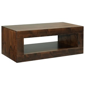 Transitional Cocktail Table with Lower Open Shelf