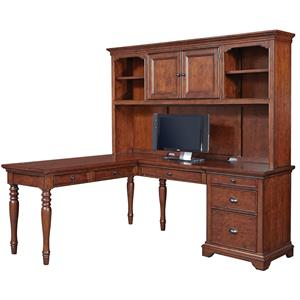 Aspenhome Villager L Shaped Desk with Hutch