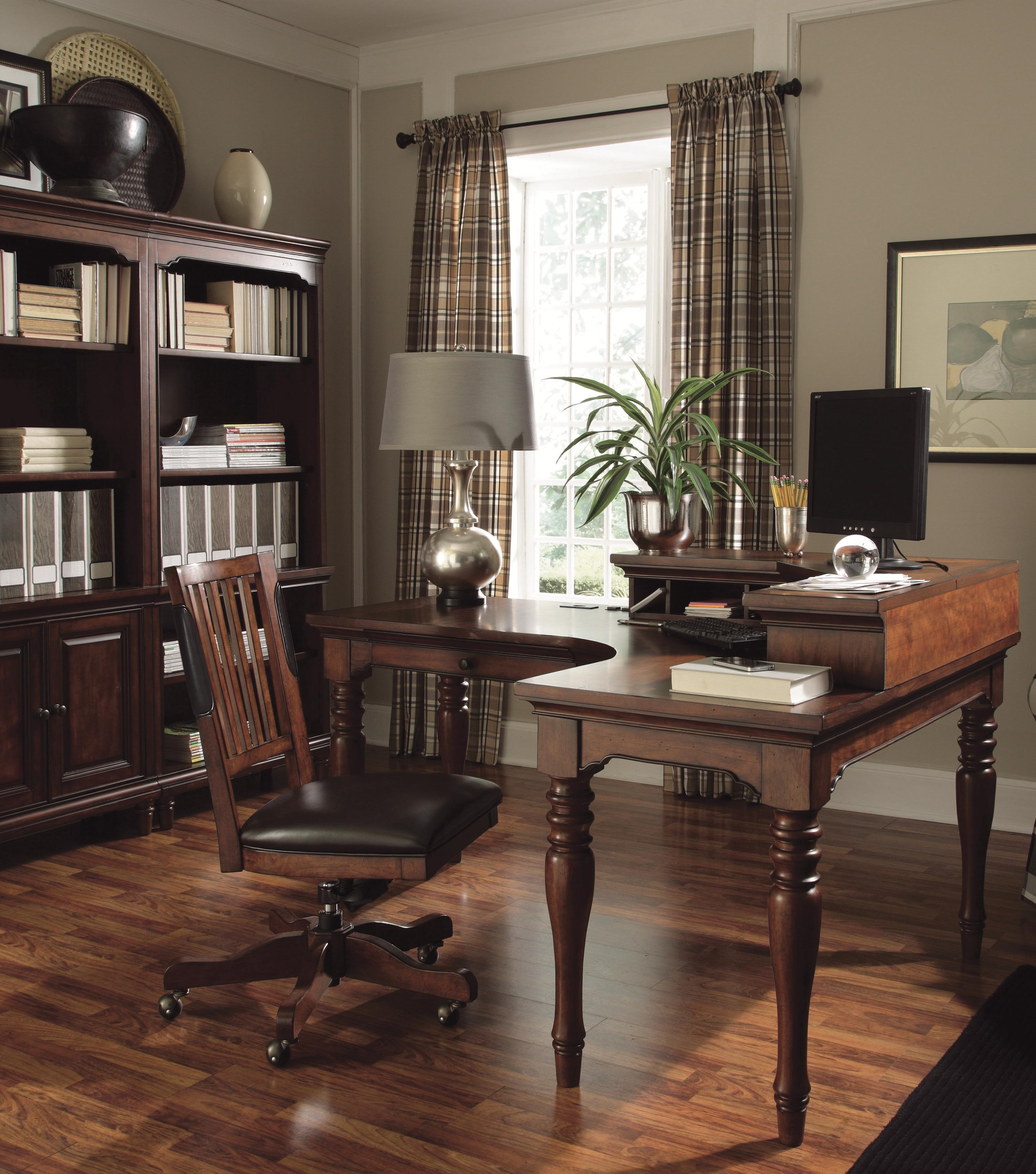 curve l desk with 1 drawer and 4 ac outlets by aspenhome wolf and