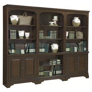 3 Piece Bookcase with Four Doors and Open Middle Section
