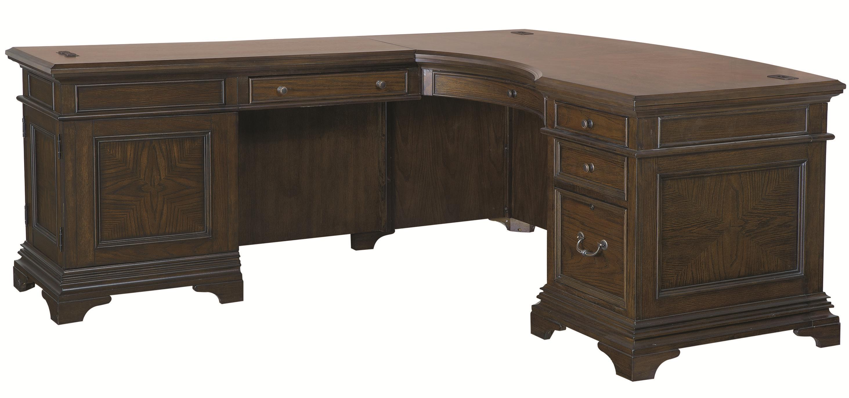 Desk and Reversible Return with 5 Drawers