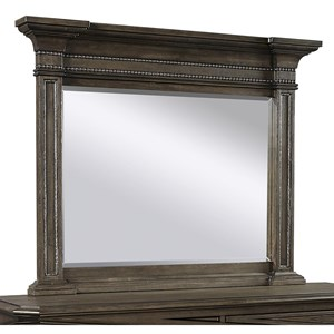 Traditional Estate Mirror with Leather and Nailhead Detail