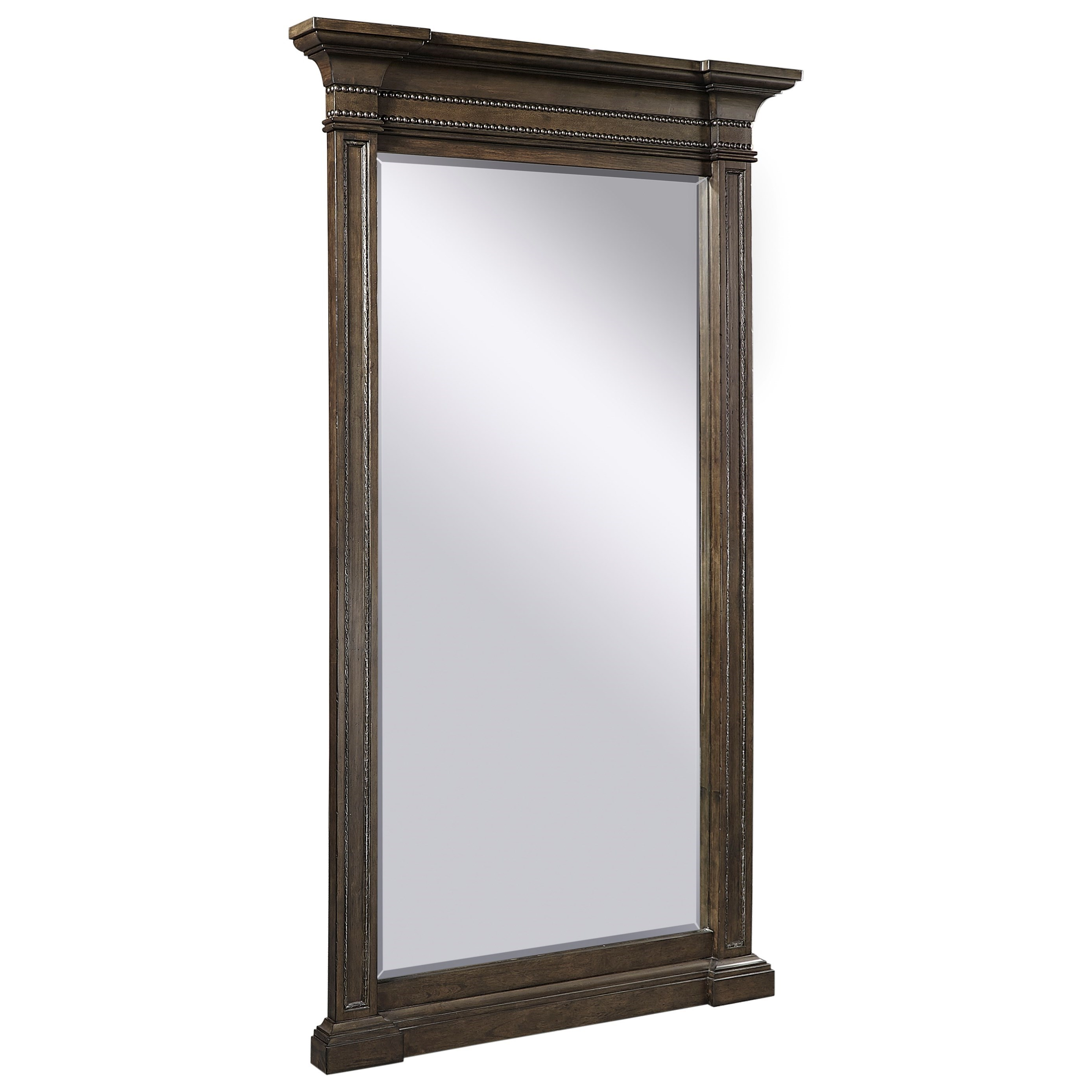 Traditional Floor Mirror with Crown Molding and Nails