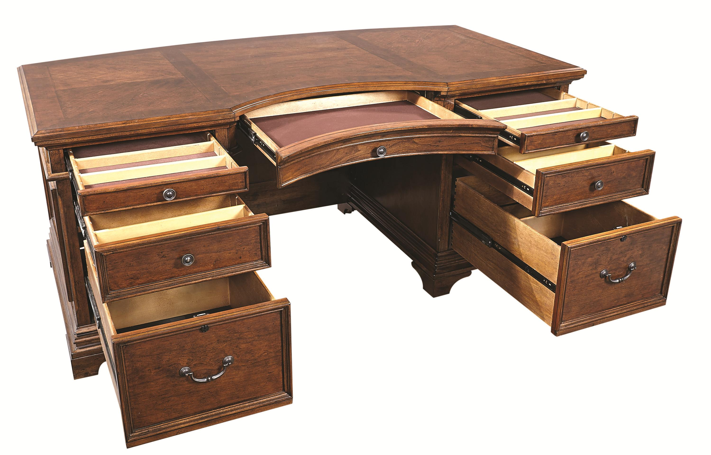 Warm Cherry Executive Desk Home Office Collection: 72-Inch Curved Top Executive Desk With 4 Utility Drawers