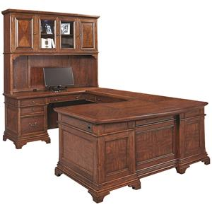 Aspenhome Hawthorne Left Facing Executive U Desk with Hutc