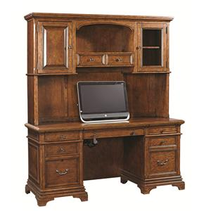 66-Inch Credenza and Hutch with 3 Adjustable Shelves and 5 Drawers