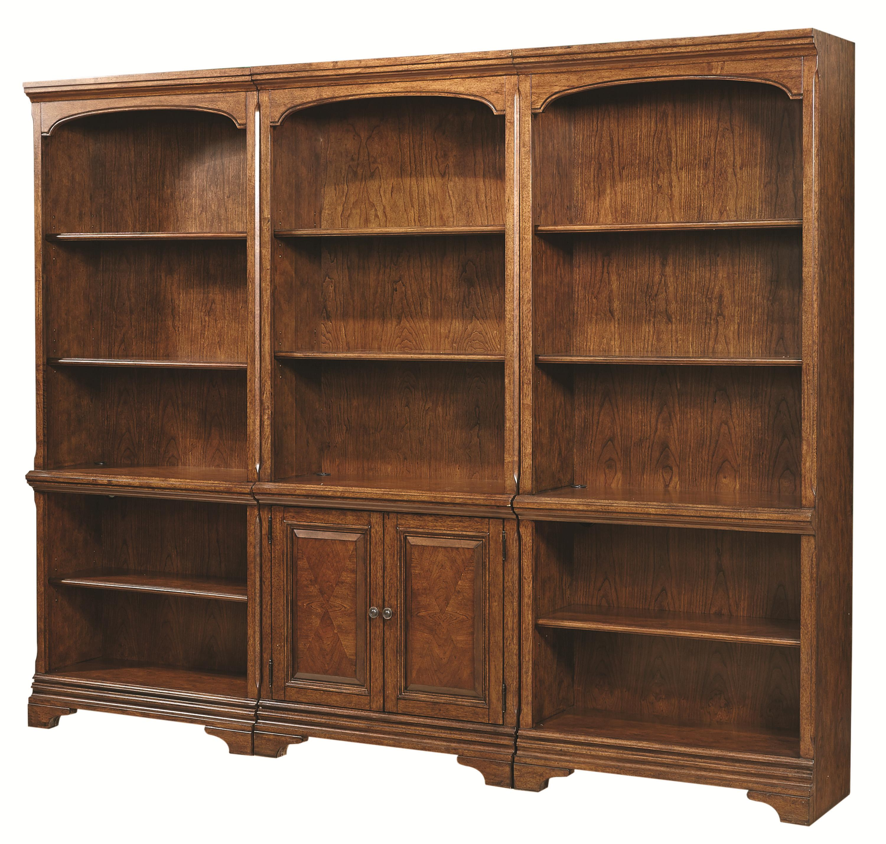 Aspenhome Warm Cherry Executive Modular Home Office: Bookcase Wall With 1 Door Bookcase And 2 Open Bookcases By