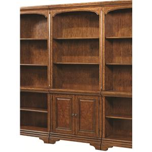 Open Bookcase with 4 Shelves and Two Small Panel Doors