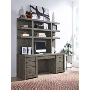 Contemporary Credenza and Hutch with USB Ports and Locking Files