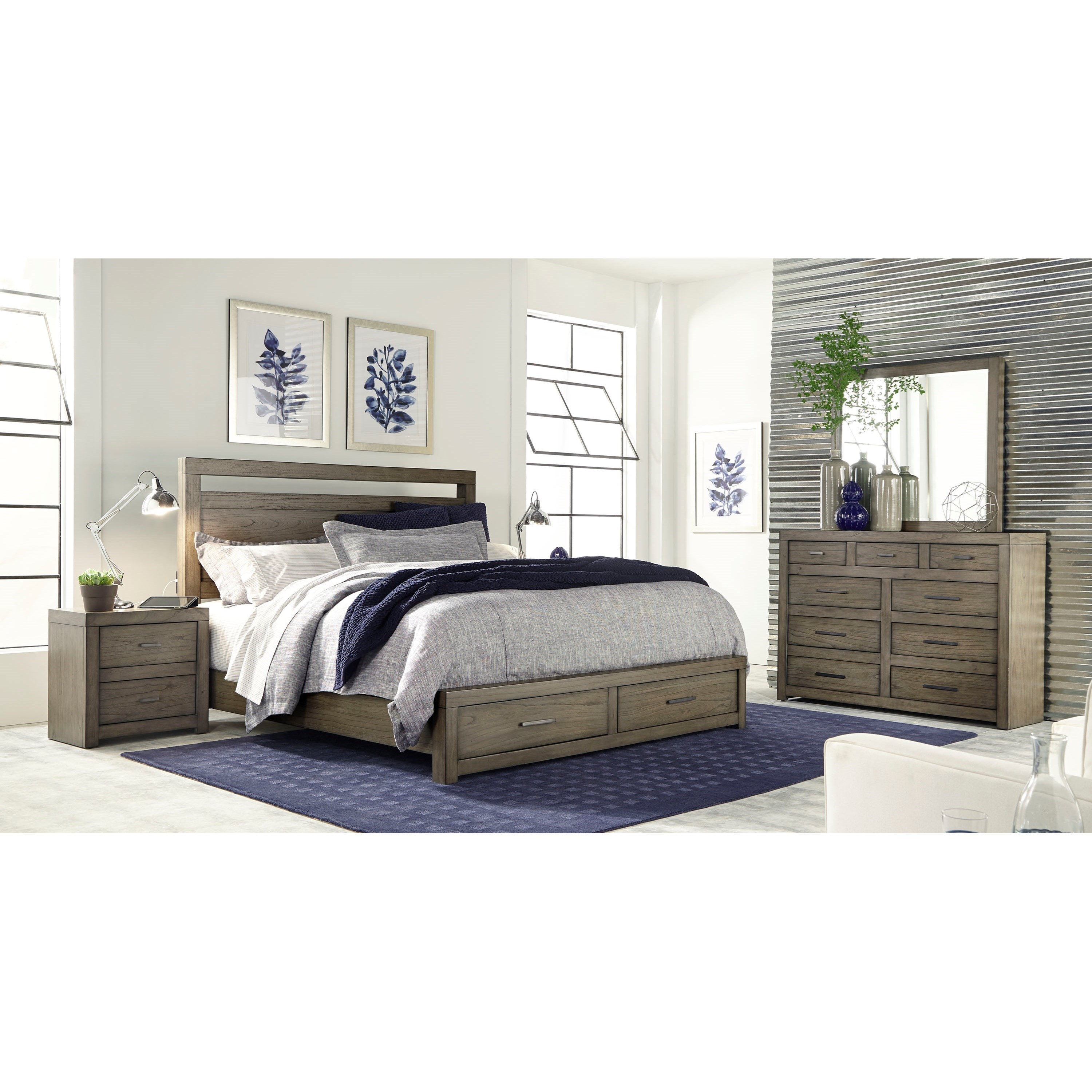 Queen Panel Storage Bed With USB Charging Outlets By