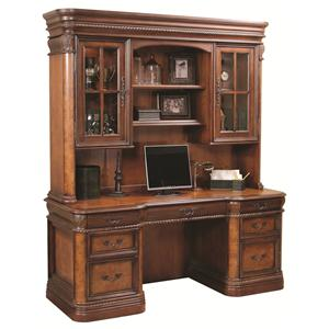 72-Inch Kneehole Computer Credenza & Display Hutch with Three-Way Touch Lighting
