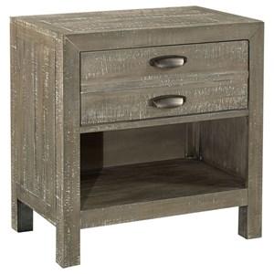 1 Drawer Nightstand with Storage Shelf