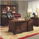 Aspenhome Richmond 66 Inch Double Pedestal Executive Desk - Shown with Credenza Desk and Hutch and Lateral File
