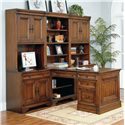 Aspenhome Richmond Rolling Filing Cabinet - Shown with Partner\'s Desk Base and Top and Side Panel, Computer Desk, Drawer Unit, Door Hutches, and Open Hutch