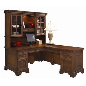 L-Shaped Computer Desk and Return With Hutch
