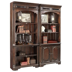 Traditional 2 Door Bookcase with Seed Glass Detail and LED Display Lighting