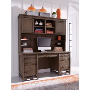Casual Desk and Hutch with USB and Outlets