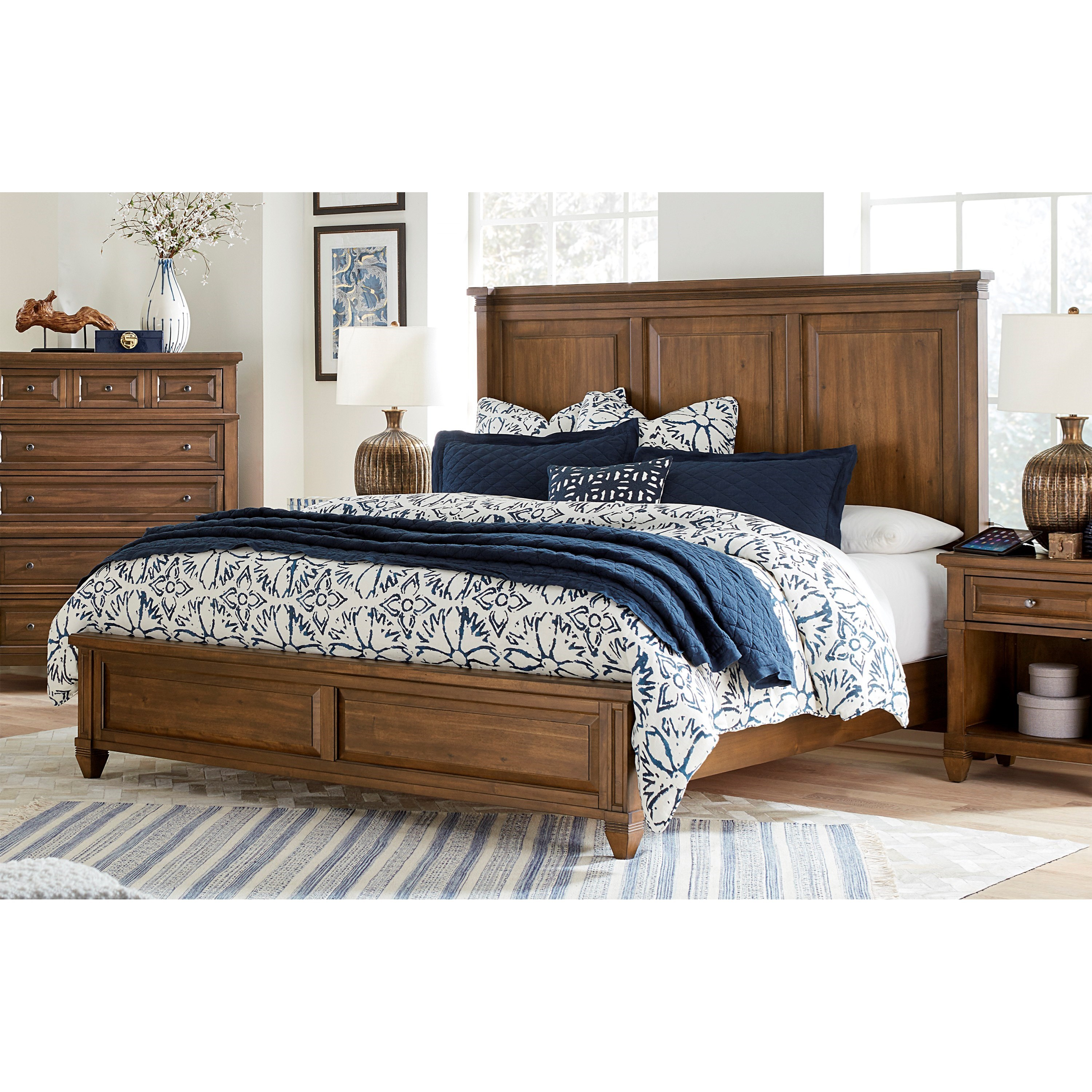 Transitional King Panel Bed With Usb Charging Ports By